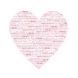 Hart met woorden I Liefde u in verschillende talen Stock Foto's