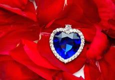 Hart op de bloemblaadjes van rozen Royalty-vrije Stock Foto