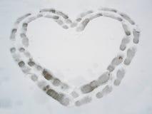 Hart op de sneeuw Stock Afbeelding