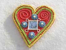 Hart op de sneeuw Stock Foto