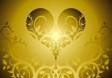 Hart op een bloemornament Stock Afbeeldingen
