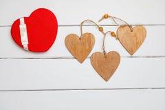 Hart op een houten achtergrond Hart van liefde Stock Afbeelding