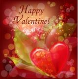 Hart op een valentijnskaartachtergrond Royalty-vrije Stock Afbeeldingen