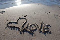 Hart op het zand Stock Afbeelding