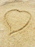 Hart op het zand Royalty-vrije Stock Afbeeldingen