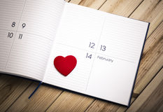 Hart op Kalender 14 Februari Royalty-vrije Stock Fotografie