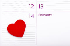 Hart op Kalender 14 Februari Royalty-vrije Stock Afbeelding
