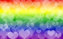 Hart op regenboogachtergrond Het symbool van de LGBT-gemeenschap Illustratie De dag van de valentijnskaart `s stock foto's