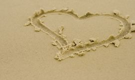 Hart op zand Royalty-vrije Stock Afbeelding
