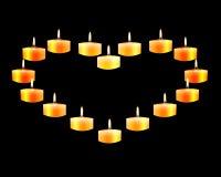 Hart opgemaakte kaarsen Stock Afbeelding