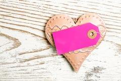 Hart roze etiket Royalty-vrije Stock Foto's