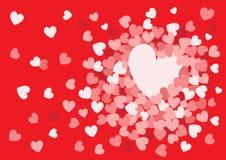 Hart roze ontwerp op rode achtergrond royalty-vrije illustratie