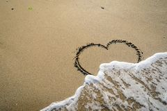 Hart in sand washed by waves. In in different stages Stock Photo