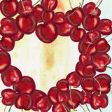 Hart shaped cherries. Watercolor cherries in heart shape Stock Photo