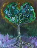 Hart tree of life with golden background and lavender.