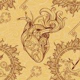 Hart, uurwerk en sleutel in steampunkstijl stock illustratie