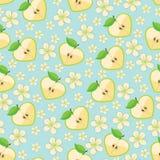 Hart van appelen en Apple-bloemen in naadloos patroon Royalty-vrije Stock Afbeelding