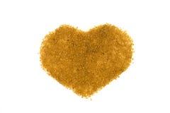 Hart van bruine suiker wordt gemaakt die Royalty-vrije Stock Afbeeldingen