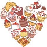 Hart van cakes vector illustratie