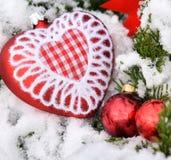 Hart van de boom het rode ballen van de Kerstmisdecoratie Royalty-vrije Stock Fotografie