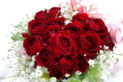 Hart van de dag of het Huwelijksboeket van rozenvalentine' s Royalty-vrije Stock Afbeeldingen