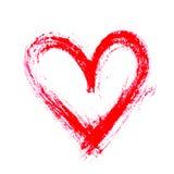 Hart van de Grunge het hand getrokken inkt Valentine-druk van de dag de droge borstel De illustratie van Grunge Stock Fotografie