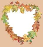 Hart van de herfst, aqwarelle kader van eiken bladeren stock illustratie