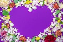 Hart van de kleurrijke bloemblaadjes en de bloesems op violette achtergrond Het concept van de liefde Vlak leg stock foto's