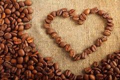 Hart van de koffiebonen Stock Foto