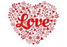 Hart van de liefde het rode bloem, vector vector illustratie