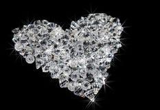 Hart van diamanten op zwarte Royalty-vrije Stock Afbeeldingen