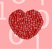 Hart van digitale binaire nul één teksten op rode vierkanten op roze duidelijke duidelijke vectorillustratie prachtig wordt getro vector illustratie