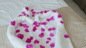 Hart van handdoeken met bloembloemblaadjes dat wordt gemaakt Een prettige verrassing voor hotelgasten, de uitstekende dienst stock footage