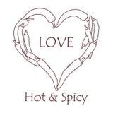 Hart van hete Spaanse peperspeper De Dag van de valentijnskaart \ 's Royalty-vrije Stock Afbeelding