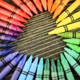 Hart van kleurpotloden op de lijst Stock Afbeelding