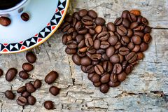 Hart van koffiebonen Royalty-vrije Stock Foto's