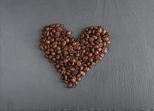 Hart van koffiebonen Stock Afbeelding