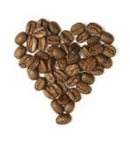 Hart van koffiebonen die wordt gemaakt Stock Afbeelding