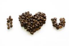 Hart van koffiebonen wordt gemaakt, liefdekoffie, geliefde die koffie Stock Foto