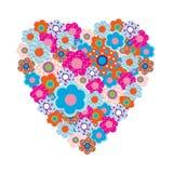 Hart van mooie gekleurde bloemen Stock Afbeelding