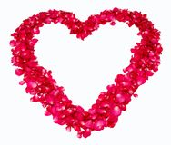 Hart van rode roze bloemblaadjes Stock Fotografie