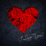 Hart van rode rozen Stock Afbeeldingen