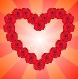 Hart van rode rozen. Stock Afbeelding