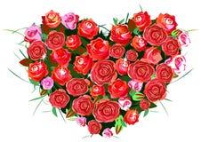 Hart van rode rozen stock illustratie