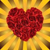 Hart van rode rozenbloemen op de gouden Vectorillustratie als achtergrond stock illustratie