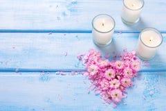 Hart van roze bloemen en bloemblaadjes en boomkaarsen die wordt gemaakt Royalty-vrije Stock Foto's