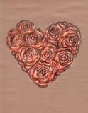 Hart van rozen op kraftpapier-document Stock Foto's
