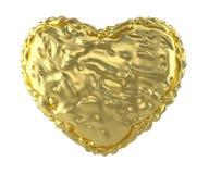 Hart van verfrommelde gouden die folie wordt op witte achtergrond wordt geïsoleerd gemaakt die 3d Stock Fotografie