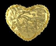 Hart van verfrommelde gouden die folie wordt op zwarte achtergrond wordt geïsoleerd gemaakt die 3d Stock Foto's