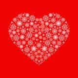Hart van witte sneeuwvlokken op rode achtergrond wordt gemaakt die Vlak vectorpictogram Kan voor Kerstmis, Nieuwjaar en St Valent stock afbeeldingen